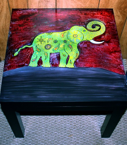 Lucky Elephant Table by Rick Cheadle Art and Designs
