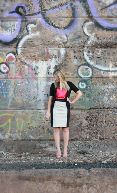 color block skirt work outfit