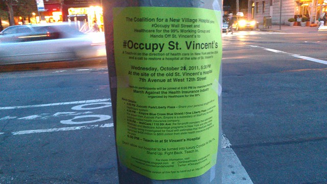 Wednesday: Occupy St. Vincent's - March against the Health Insurance Industry