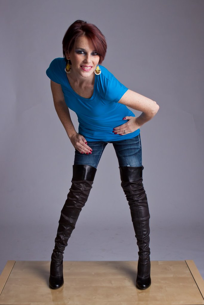 Woman With Red Knee-high Boots Stock Image - Image of cute