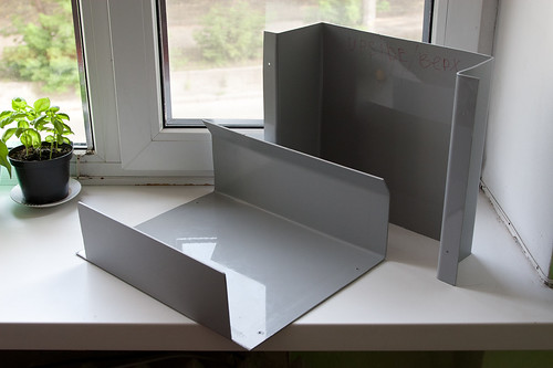 Polystyrene sheets bent into weather protective case