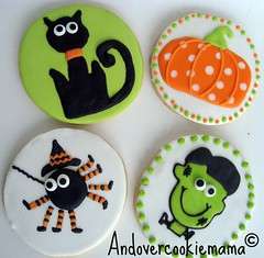 Halloween 2011 (Andovercookiemama) Tags: decoratedcookies pumpkincookies halloweencookies catcookies spidercookies frankensteincookies
