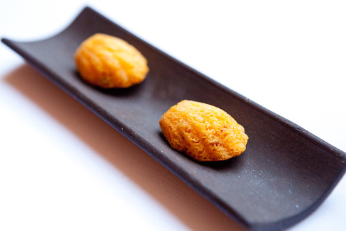 Chorizo cornbread (shaped into mini madelines)