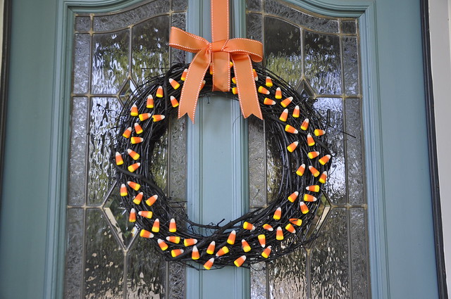 Candy Corn Wreath finished and on the door!