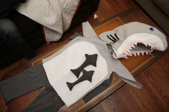 Shark costume.