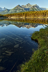 A Shoreline (Jeff Clow) Tags: autumn lake mountains fall nature landscape albertacanada banffnationalpark canadianrockies herbertlake