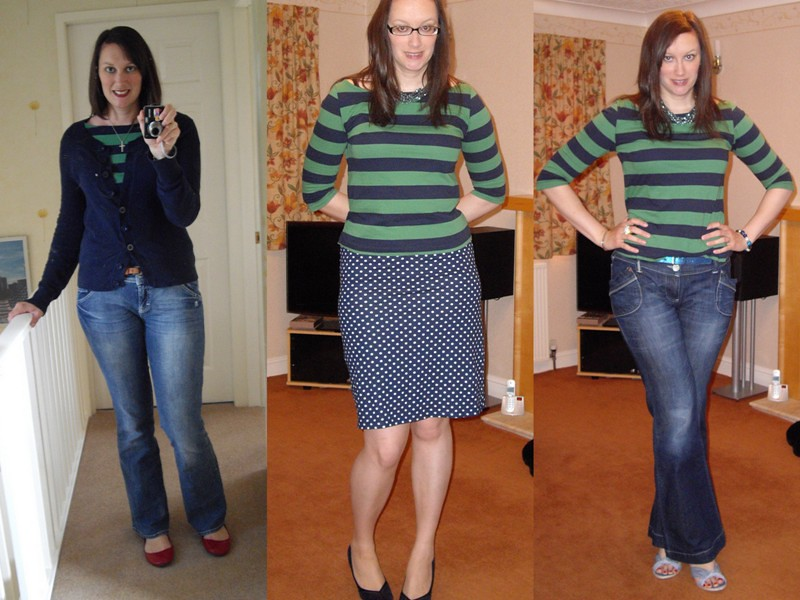 Green & navy stripe top collage 2