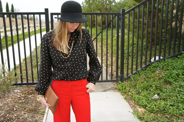 Fall outfit with red pants