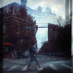 cross on red (phoebe reid) Tags: film virginia doubleexposure mini richmond diana va stoplight vcu expired franklinstreet