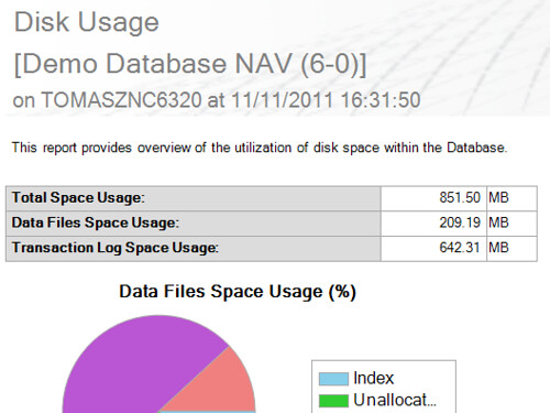 Database Size - Disk Usage Report