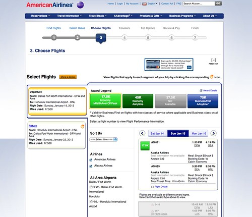 Booking American Airlines Partner Awards Online
