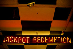 Jackpot! (nixter) Tags: red up delete10 canon delete9 delete5 delete2 neon delete6 delete7 delete8 delete3 delete delete4 save ceiling lookingup lookup 7d redemption jackpot checkboard f64g39r3win