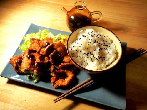 Tonkatsu meal tilted