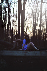 (yyellowbird) Tags: bridge trees girls lauren fall forest dark grainy cari