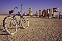 Love Mornings (BlackRockBacon) Tags: morning light love bike temple early purple desert pentax playa september da dust cruiser 18135 burningman2011 pentaxda18135