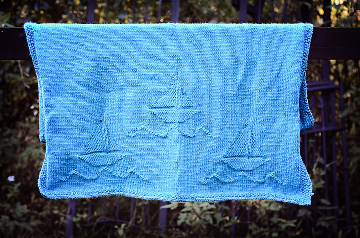 Knit Sailboat Baby Blanket