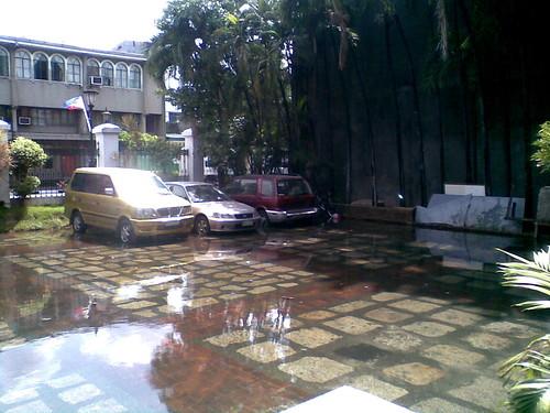 Flooded Bldg 1 parking area