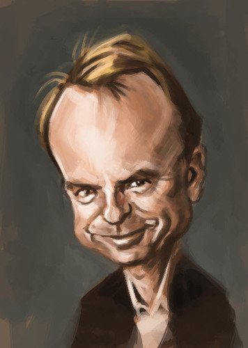 digital caricature of Sam Neill - 2