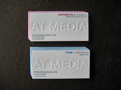At Media Letterpress Cards - Edge Coloring (dolcepress) Tags: ny blind cyan magenta longisland businesscards duplex letterpress bohemia doublesided atmedia edgecoloring dolcepress antoinettejohnson tylerwestnedge