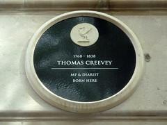 Photo of Thomas Creevey black plaque