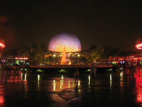 Epcot looking beautiful in the rain.