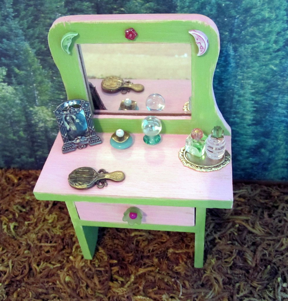 Miniature Altered Vanity with Actual Mirror and Drawer Which Opens ~1:12th Scale