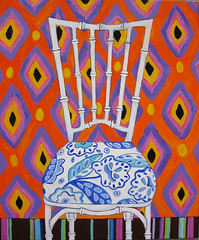 Bamboo chair (aquarelle788) Tags: art painting chair bamboo canvas faux etsy acrylics ikat