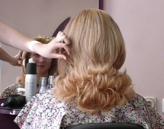 At the hairdresser in Bucarest-16d (Julie70) Tags: mirror hand main working 2006 romania blonde hairdresser coiffeur bucarest photostroll rominia