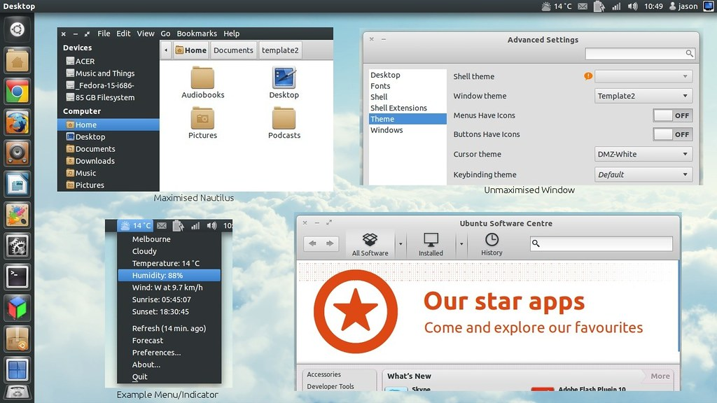 Gnome3 2 Sonar and Elements Themes for Ubuntu 11 10 Unity