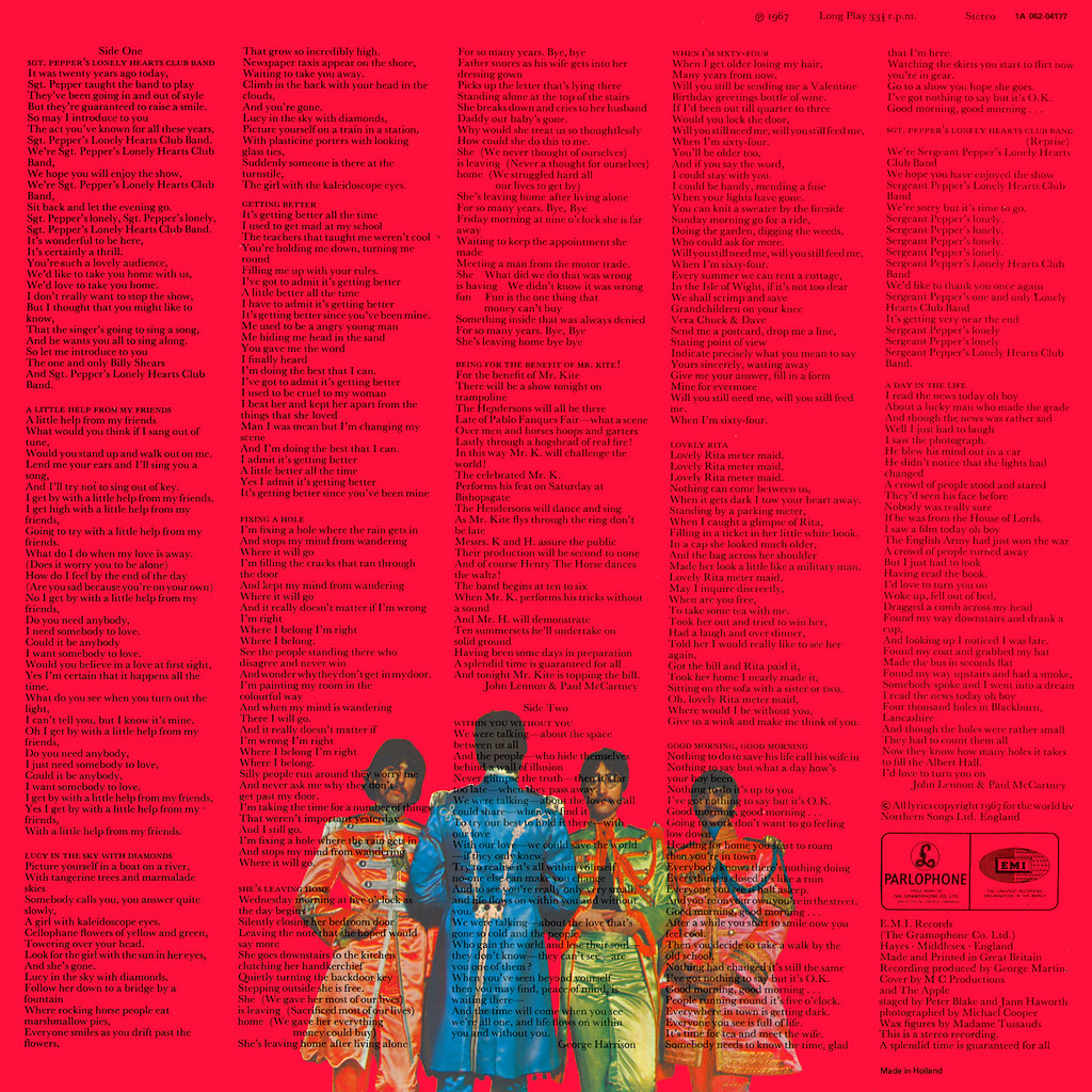 Sgt Pepper S Lonely Hearts Club Band Lp Cover Art