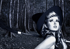 into the woods (JasonLee) Tags: blue bw forest woods witch tint pinup broomstick wiccan