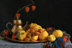 The Light Of October (panga_ua) Tags: autumn light stilllife orange color art fall fruits yellow composition scarf canon spectacular artwork october artistic availablelight gray ukraine poetic explore creation granite tray imagination heirloom natalie arrangement fallenleaf tabletop gettyimages oldfashioned bodegon biodiversity naturemorte physalis panga artisticphotography rivne naturamorta artphotography quinces sharpfocus explored littlevase stonetabletop  nataliepanga metallicteapot heritagefruits thelightofoctober