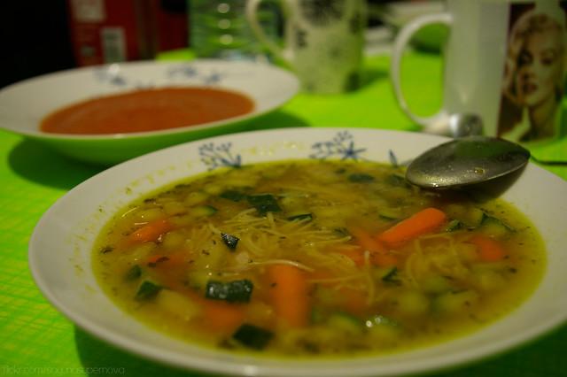 Sopa de verduras y gazpacho (Vegan)