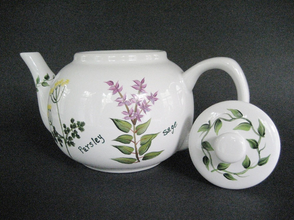 Teapot Herbs Hand Painted Parsley Sage Rosemary Thyme