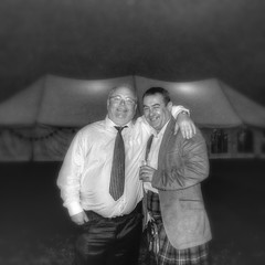 The odd couple. (jimbodownie) Tags: wedding two portrait bw scotland kilt