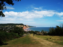 Grassy Area, Sidmouth, Devon (maisonburke) Tags: water grass clouds seaside devon sidmouth slopes