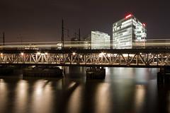 Hafencity (Tobias Münch) Tags: bridge water architecture night train spiegel hamburg hafencity