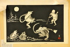 154. Japanese Woodblock with Battling Frogs