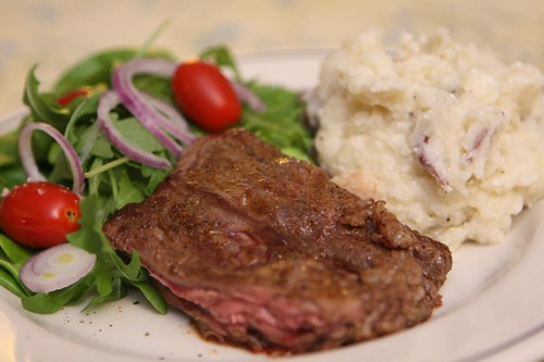 Grilled Skirt Steak with Ricotta Mashed Potatoes