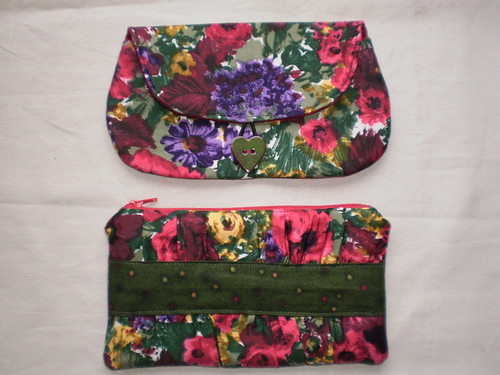 Clutch purses. Top one is from a pattern by Keyka Lou Patterns and lower one from online pattern by Noodlehead.