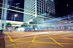 Crossroad ([~Bryan~]) Tags: road street night hongkong traffic central junction lighttrails crossroad zebracross traffictrails lightstream