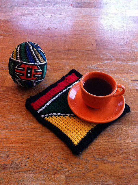 Ndebele Inspired Tunisian Crochet Potholder