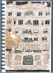 Drawing with Inma #2: Casa Mil (freekhand) Tags: barcelona casamil inmaserrano
