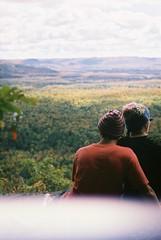 lovers overlooking bellevue valley, ontario (mistertahti) Tags: autumn ontario rocks fungus hikers algoma goulais voyageurtrail robertsoncliffs