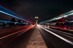 The Bus To Streatham Hill (Sean Batten) Tags: uk england bus london night vanishingpoint fisheye lighttrails waterloobridge lightburst