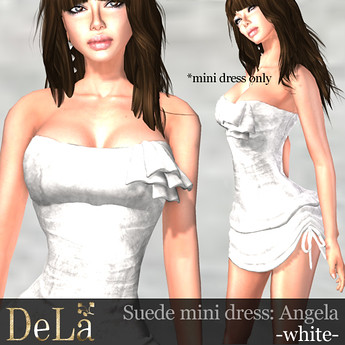 """=DeLa*= Suede mini dress """"Angela"""" White, 380 lindens by Cherokeeh Asteria"""