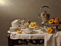 breakfast (FranckTG) Tags: breakfast silverware tea cups tasses sconces nextarines