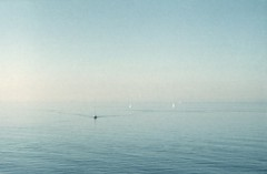(genevive bjargardttir) Tags: ocean blue sea mist film water analog 35mm germany denmark purple iso400 horizon balticsea rostock helios fujisuperia zenite gedser