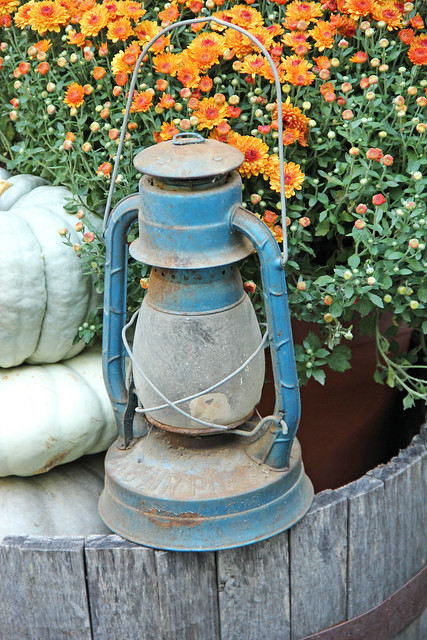 old blue coleman lantern