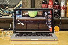 Apple Powered Apple (AJ Brustein) Tags: desktop green apple fruit canon cutout aj cord bottle mac inch aluminum fuji mt power image jobs magic rip steve coke screen mount usb sj pro headphones tribute cocacola trick seethrough hokusai fanboy transparent 13 katsushika brustein 50d macbook